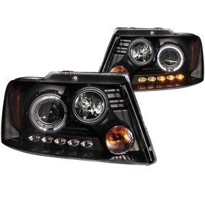 Anzo USA Halogen Projector Headlight Black Housing Ford F150