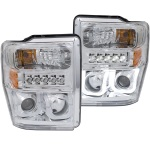 Anzo Chrome U-Bar Projector Headlights Ford Super Duty Halogen - Sold in Pairs