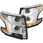Anzo Chrome U-Bar Projector Headlights Chevy Suburban Tahoe Halogen - Sold in Pairs