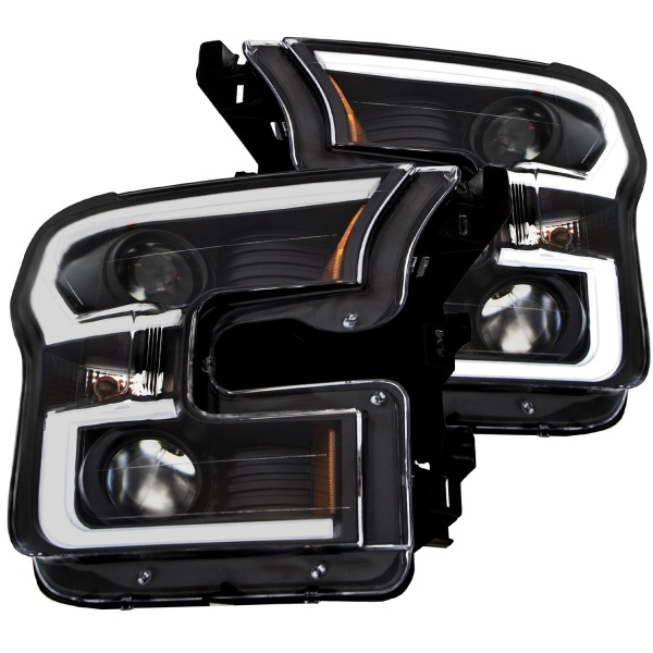 Anzo USA Plank Style Projector Headlights Ford F150 Black Housing   Sold As A Pair