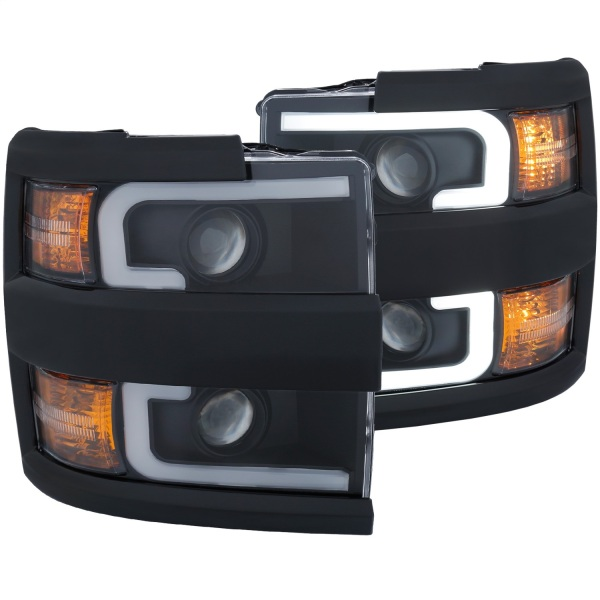 Anzo USA Plank Style Projector Headlights Chevy Silverado 2500 3500 Black Housing w/ Black Trim   Sold As A Pair