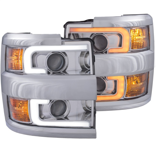 Anzo Switchback Projector Headlights Chevy Silverado 2500 3500   Plank Style Switchback Chrome Housing w/ Chrome Trim   Sold As A Pair