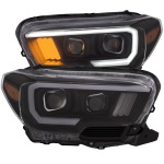 Anzo USA Plank Style Projector Headlights Toyota Tacoma Black Housing   Sold As A Pair