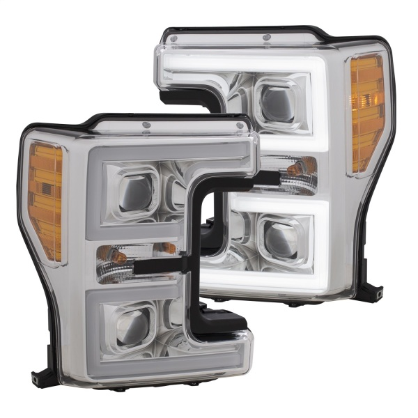Anzo Chrome Switchback Projector Headlights Ford F250 F350 F450   Plank Style Switchback   Sold As A Pair