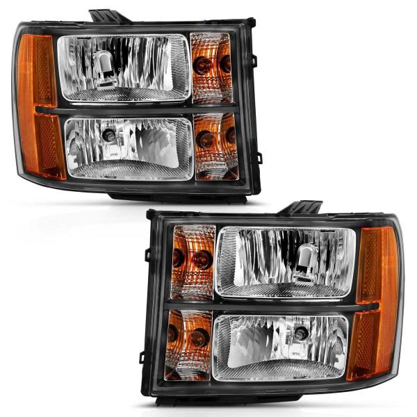 Anzo USA Crystal Headlights with Black Housing Chevy Silverado 1500 2500 3500