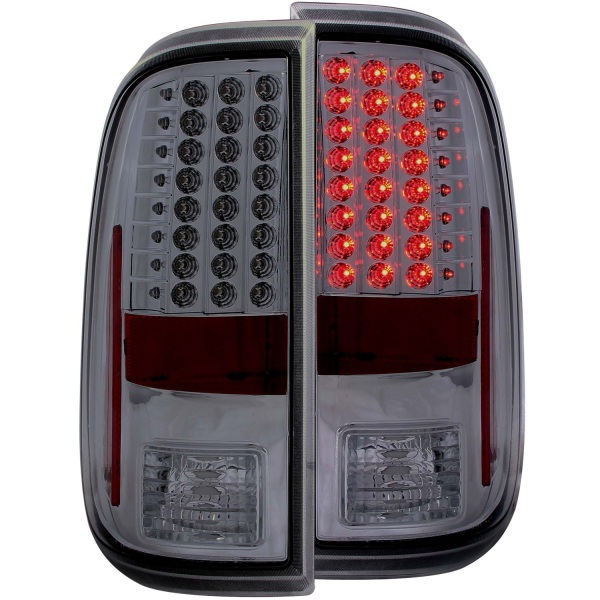 Anzo USA Chrome LED Tail Lights Ford F250 F350 F450 F550 Smoke Lens - Sold as a pair