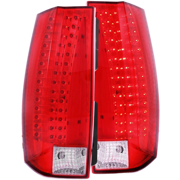 Anzo USA Chrome LED Tail Lights Chevy Suburban Tahoe GMC Yukon Gen 1   Red & Clear Lens - Sold as a pair