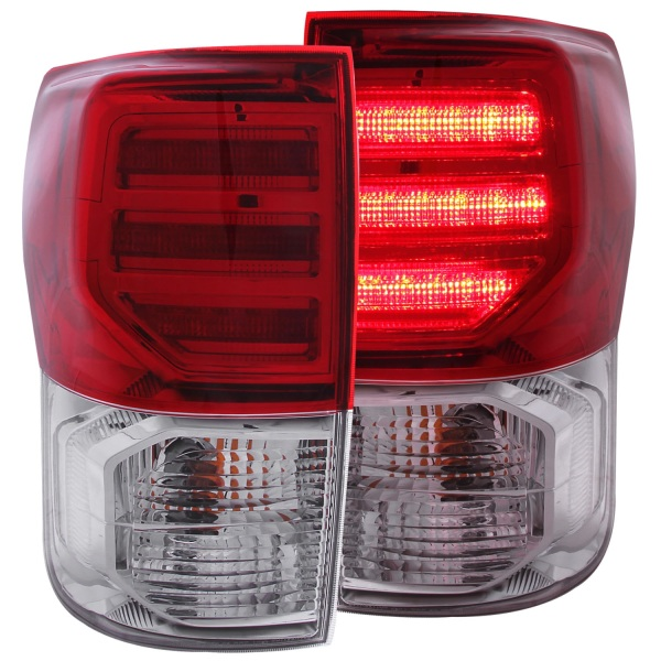 Anzo USA Chrome LED Tail Lights Toyota Tundra Generation 2   Red & Clear Lens - Sold as a pair