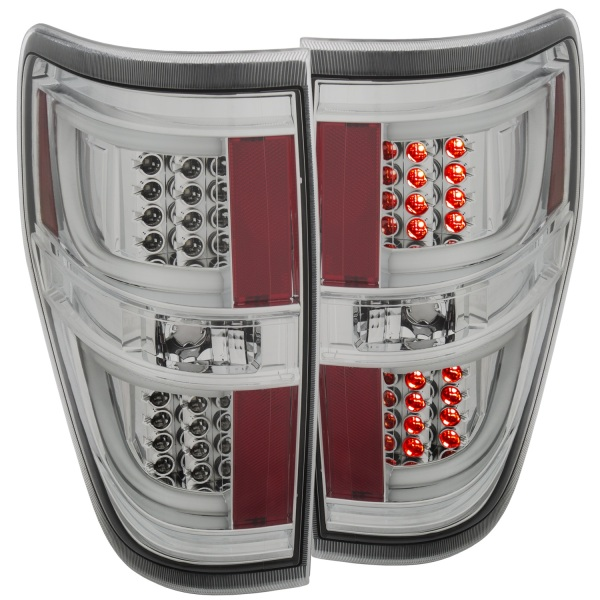 Anzo USA Chrome LED Tail Lights Ford F150 Generation 2   Clear Lens - Sold as a pair