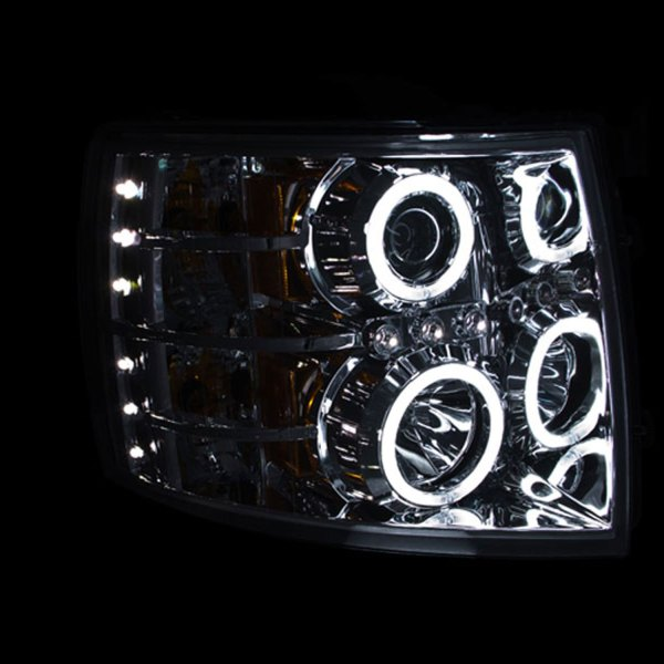 Anzo USA Chrome Halogen Projector Headlights with Halo Chevy 1500 2500 3500
