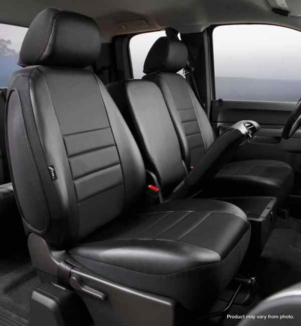 Fia Black Leather Front Seat Covers