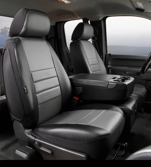 Fia Gray Leather Front Seat Covers