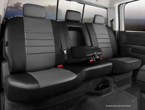 Fia Gray Leather Rear Seat Covers