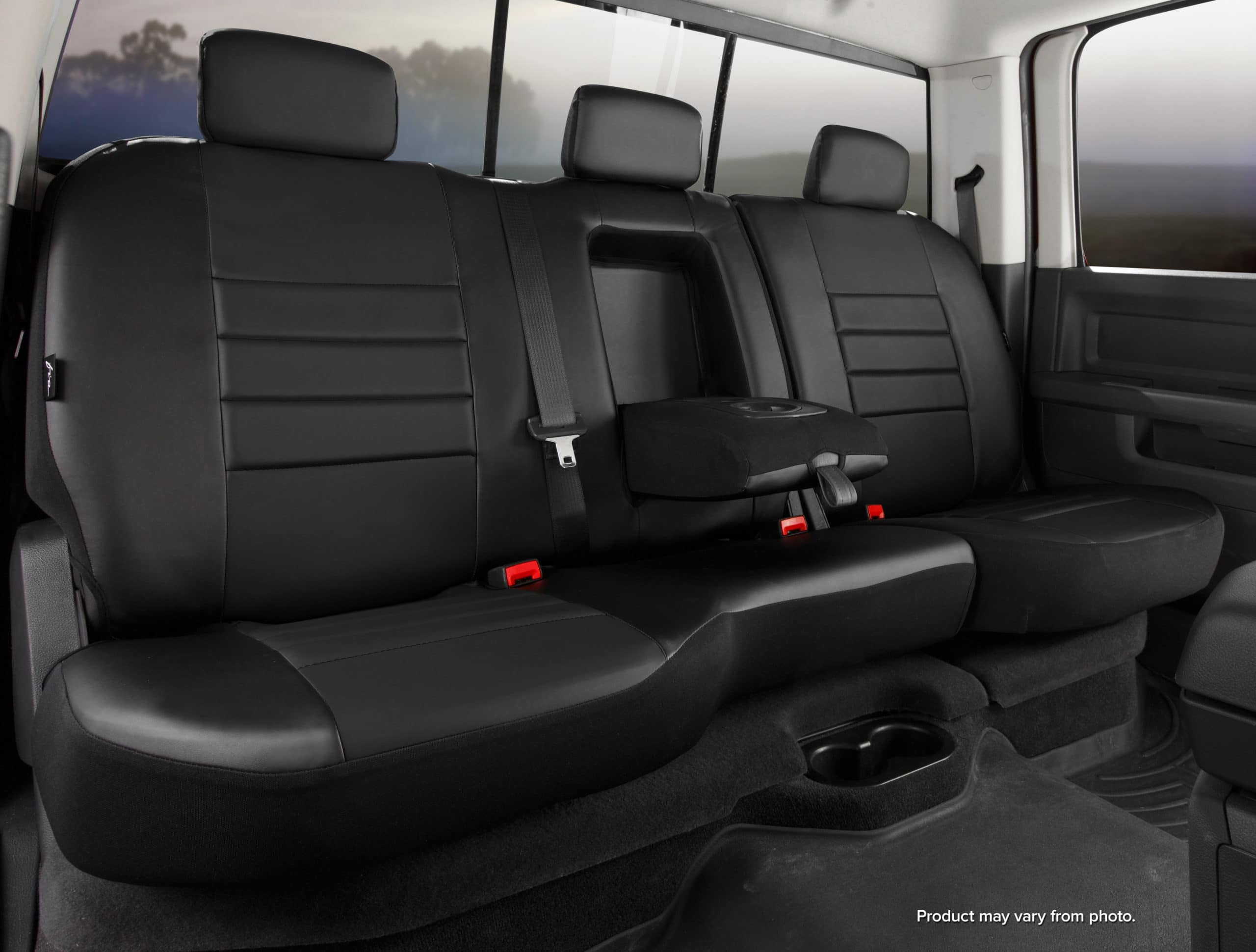 Fia Black Leather Rear Seat Covers