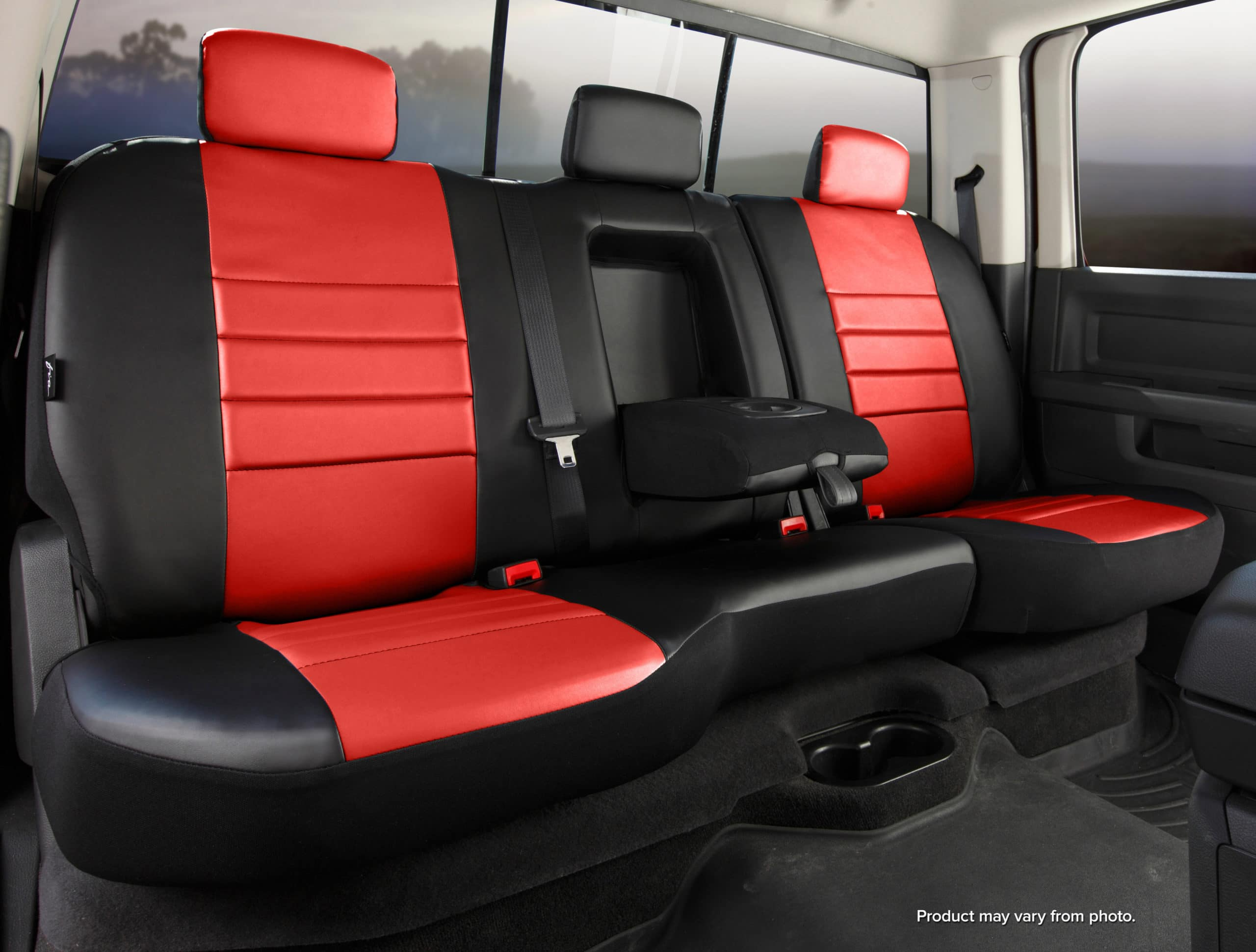 Fia Red Leather Rear Seat Covers