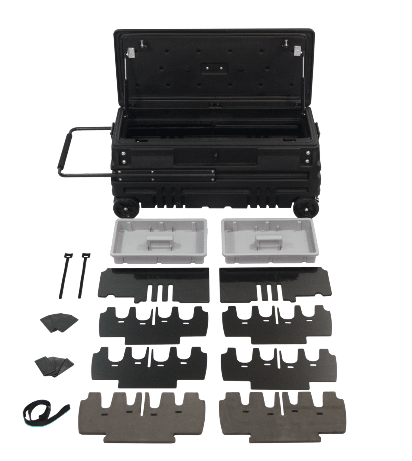Two Removable Trays, Organizers, Dividers and Gun Racks