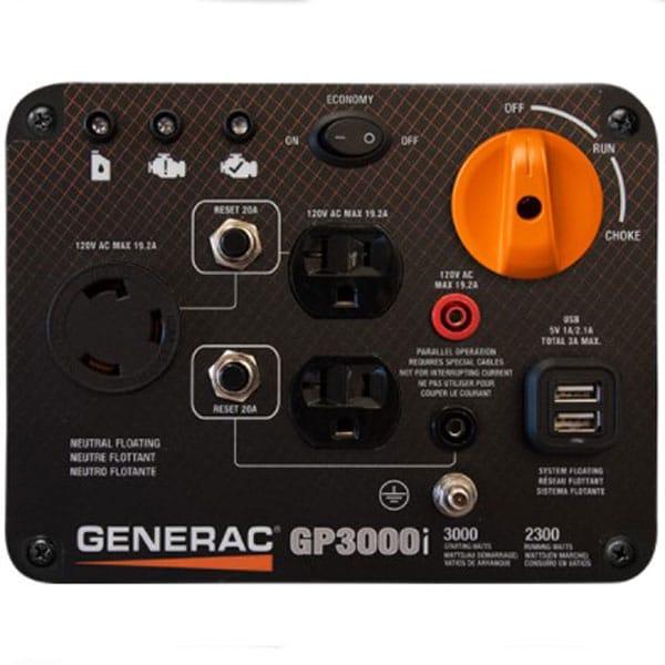 Generac 7129 GP3000i Inverter Generator Controls