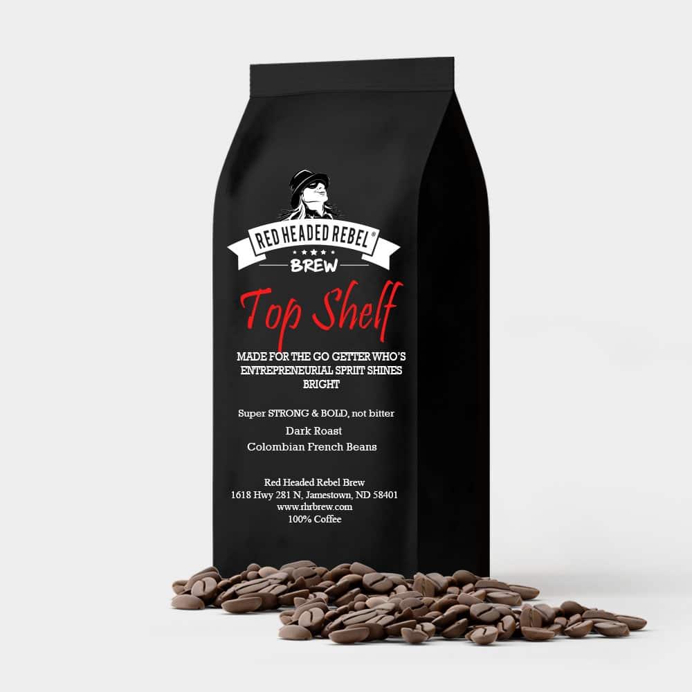 RHR Top Shelf Coffee - Whole Bean - 5 lb Bag - Red Headed Rebel