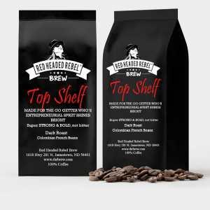 RHR Top Shelf Coffee - 2 Pack - Whole Bean - Red Headed Rebel - Two 12 oz Bags