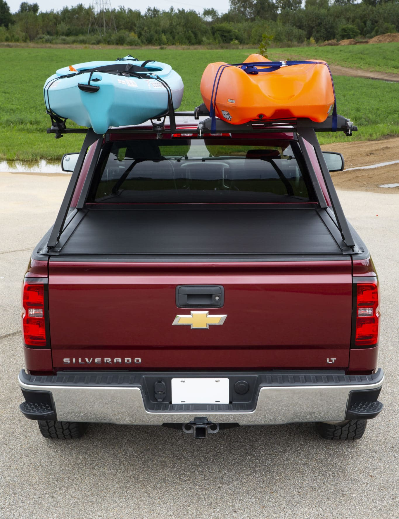 Kayaks Mounted on Tonneau Rack