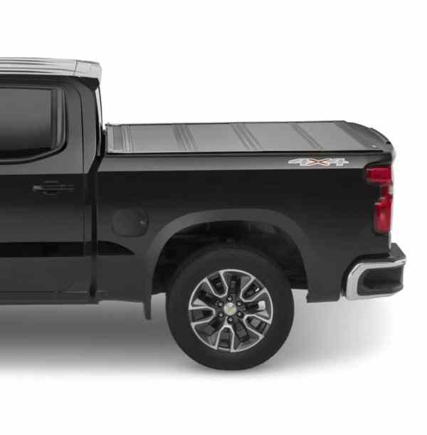 Leer HF650M Hard Quad Fold Tonneau Cover on Chevy Truck