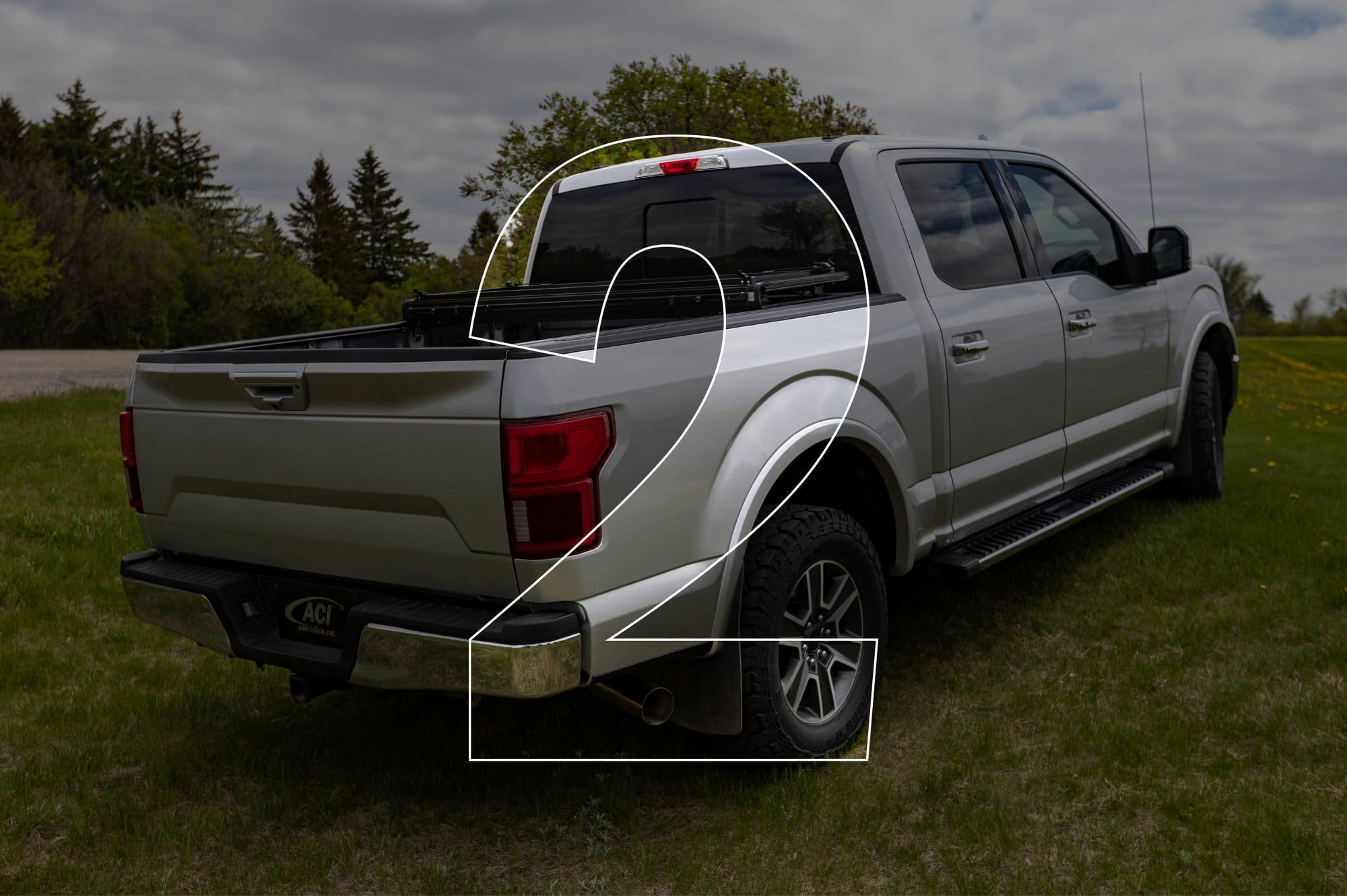 Lomax Stance Hard Folding Tonneau Cover - Open & Secured