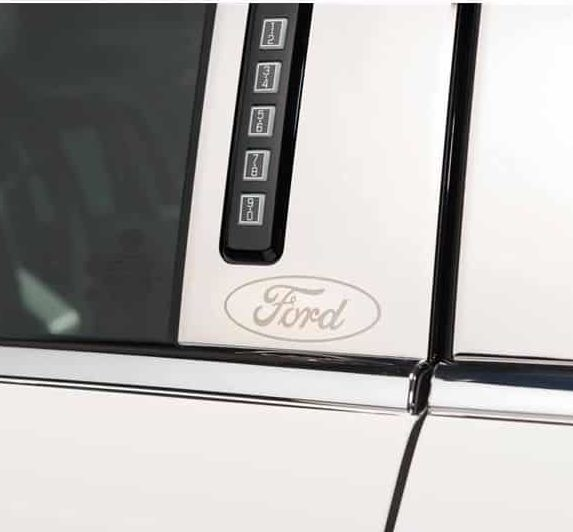Ford Oval Etched Pillar Post Trim - Stainless