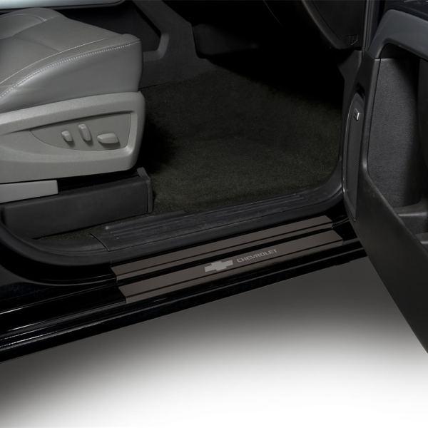 Putco GM licensed black Platinum Door Sill Plates BowTie