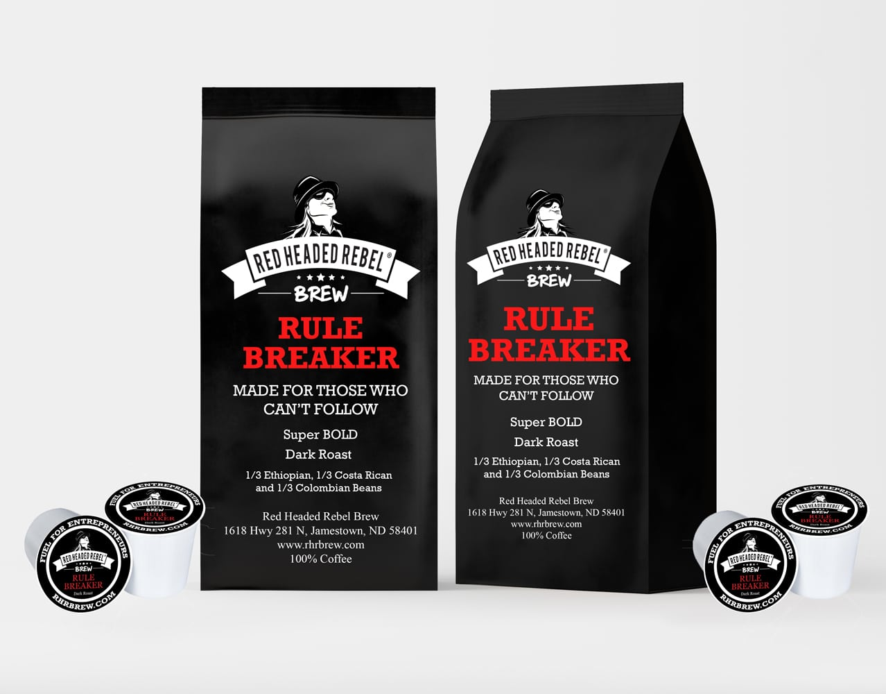 RHR Rule Breaker Coffee - Single Serve Cups - 20 Pack - Red Headed Rebel