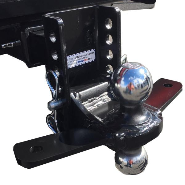 """Shocker XR Combo Ball Mount with Sway Control Tabs 12,000 lbs 8"""" of Adjustment"""