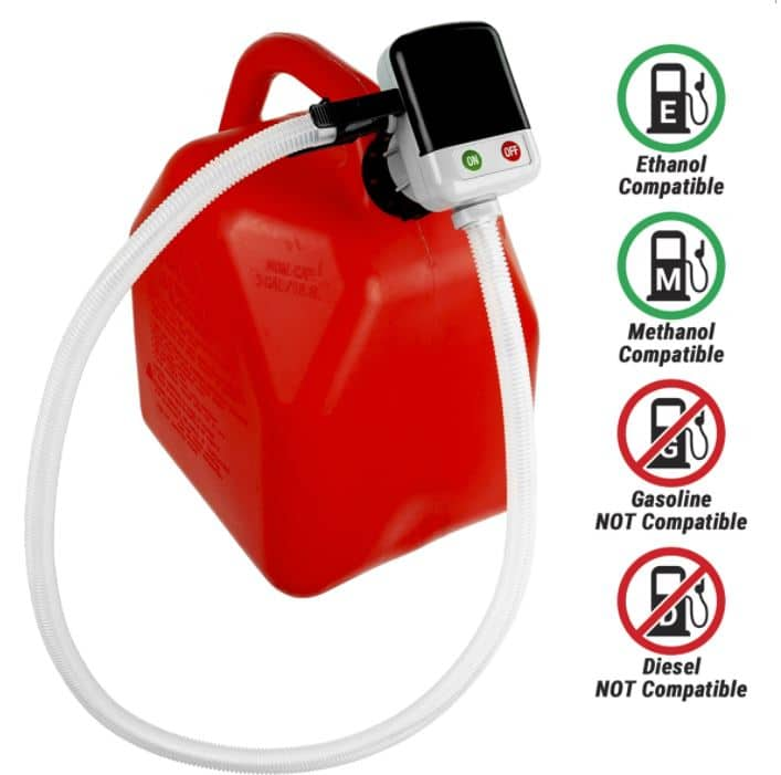 Works with Ethanol & Methanol (Does not work with Gasoline or Diesel)